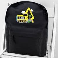 Personalised Digger Black Backpack Bag - ideal for Days out, Back to School, Birthdays and Christmas.